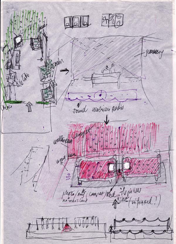 SANTA ARMY NAVY Y DREAMLIKE - Croquis de los dos espacios del proyecto
